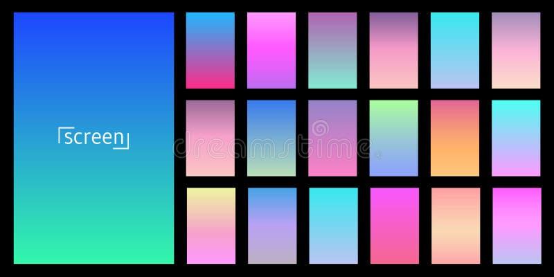Modern skärmvektordesign för mobilen app Samling av den mjuka färgbakgrundslutningen Plattor med lutningeffekt vektor vektor illustrationer