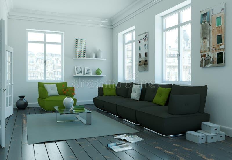 Modern skandinavian vardagsrum för inredesign i vit stil vektor illustrationer