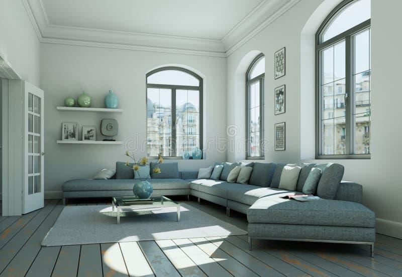 Modern skandinavian vardagsrum för inredesign i vit stil royaltyfri illustrationer