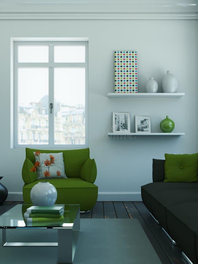 Modern skandinavian vardagsrum för inredesign i vit stil stock illustrationer