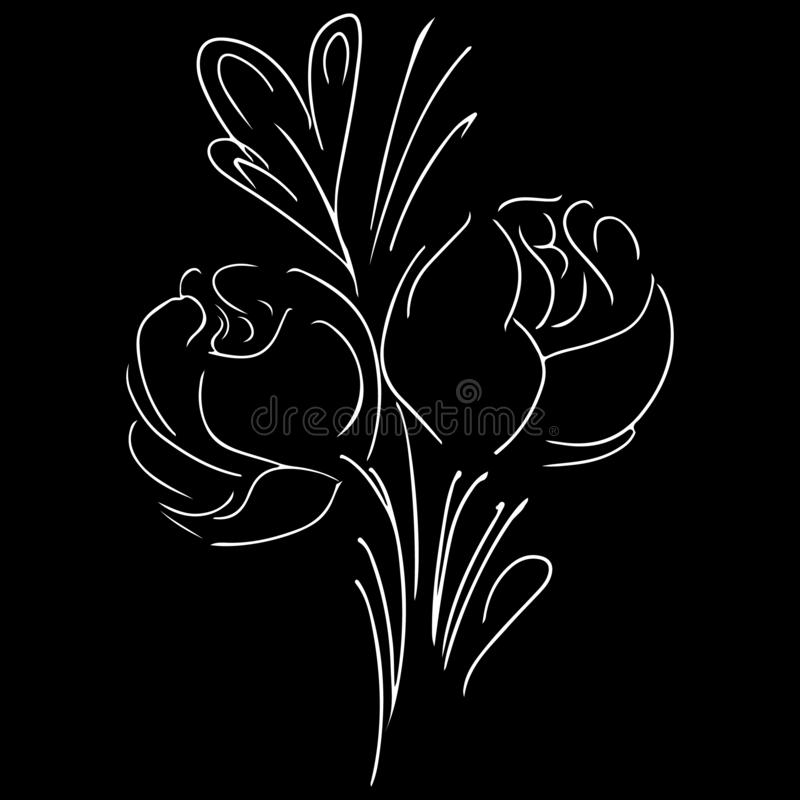 Modern sketch icon with peonies outline hand. Isolated peony illustration element. Floral botanical flower. Line art peonies. Outline hand for decorative design royalty free illustration