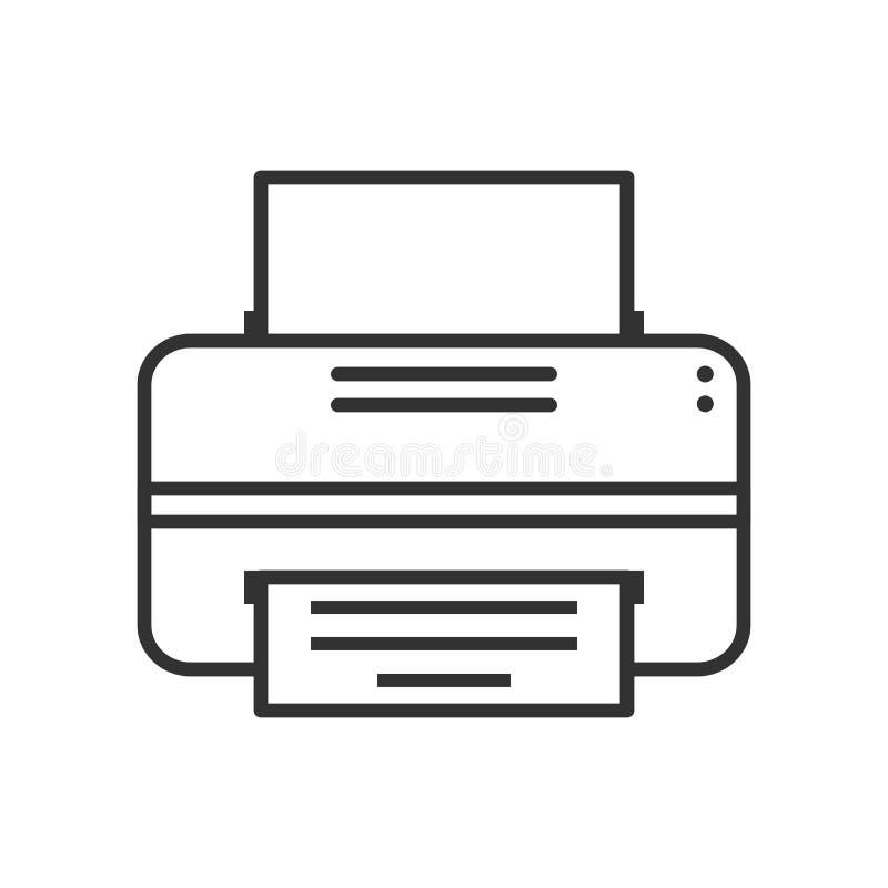 Modern skrivare Outline Flat Icon på vit royaltyfri illustrationer