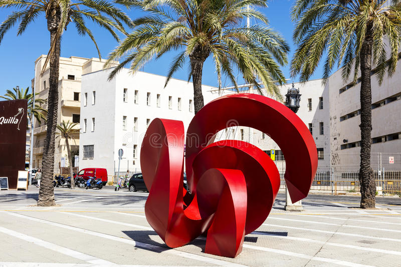 Modern skulptur i Cadiz royaltyfri foto