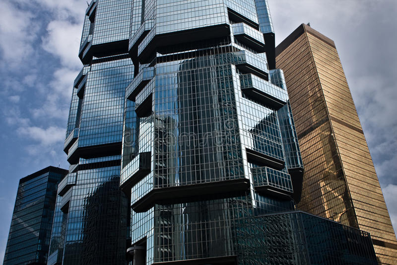 Modern Sky Scrapers. Hong Kong Modern Geometric Sky Scrapers royalty free stock photo