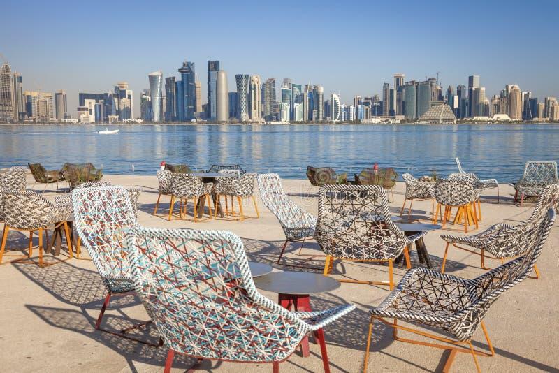 Modern skyline of Doha royalty free stock photo
