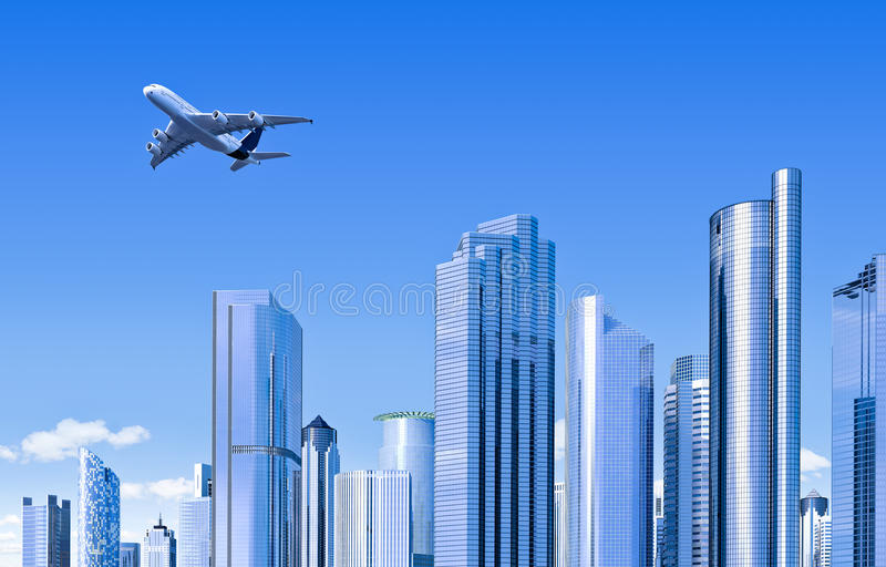 Download Modern skyline with plane stock illustration. Image of apartment - 23875762