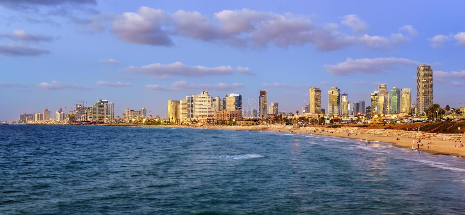 Modern skyline of Tel Aviv city at evening, Israel royalty free stock images