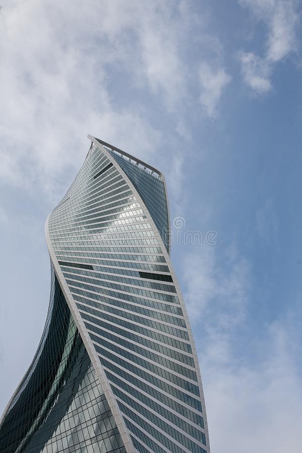 Modern skyscraper architecture. Moscow international business center Moscow city building against the blue sky. With clouds, Russia royalty free stock images