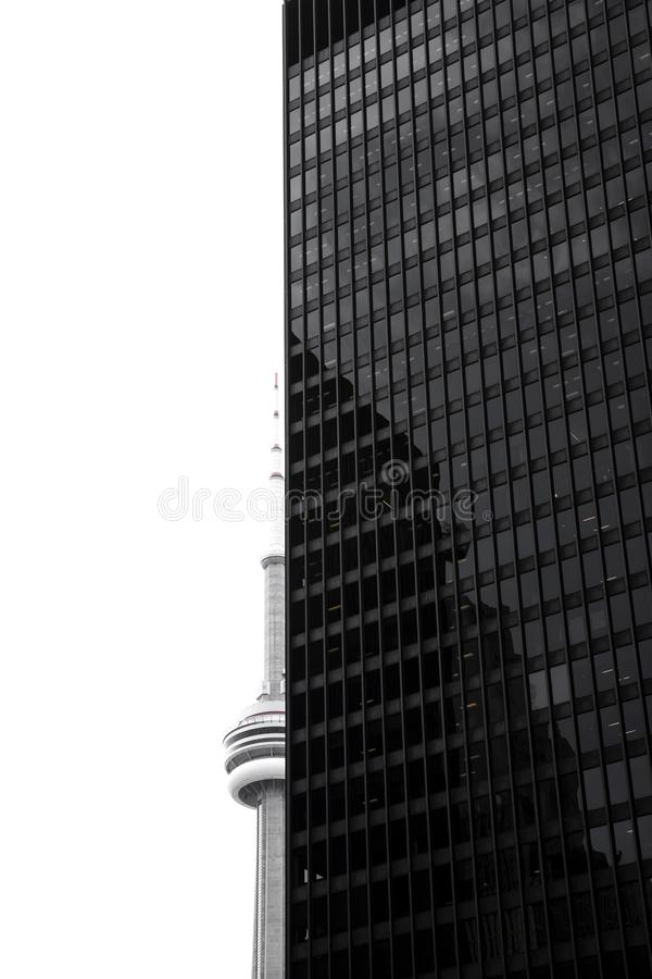 Modern skyscraper in black and white stock images