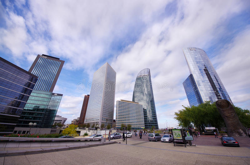 Modern skyscraper business view of La Defense in Paris, France royalty free stock images
