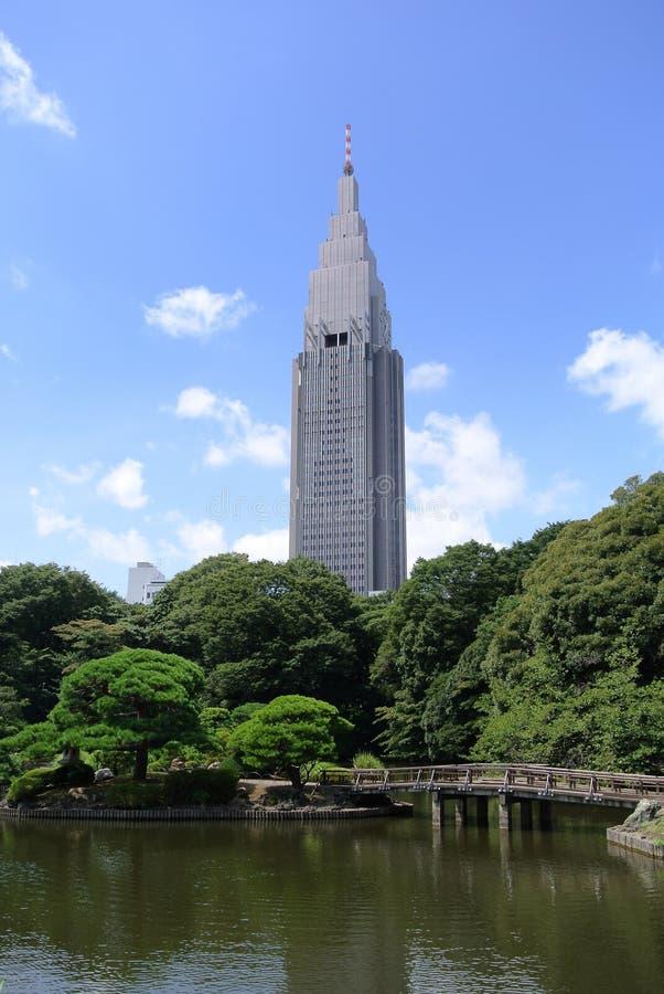 Modern Skyscraper in Japan. Tall building as seen from Shinjuku gyoen garden in Tokyo Japan stock image