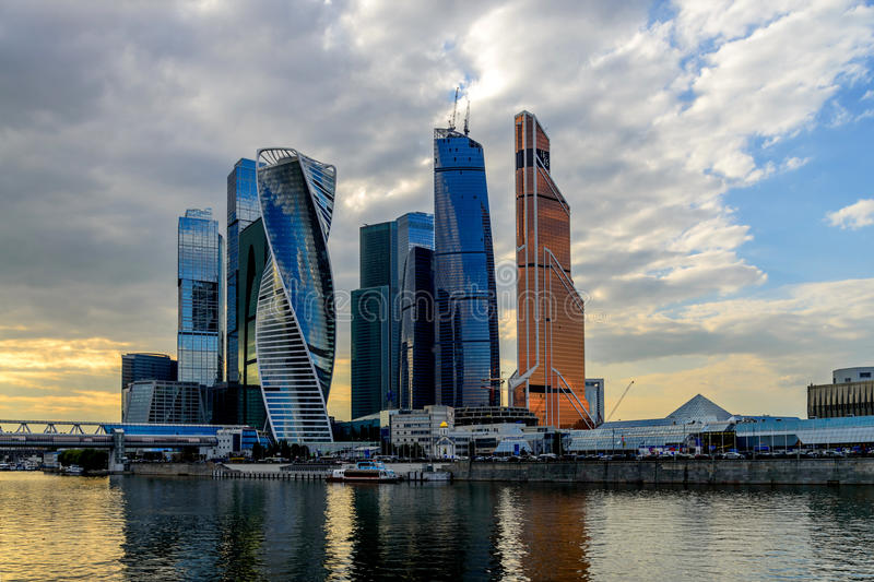 Modern skyscrapers buildings in Moscow City. Moscow International Business Center. stock photo