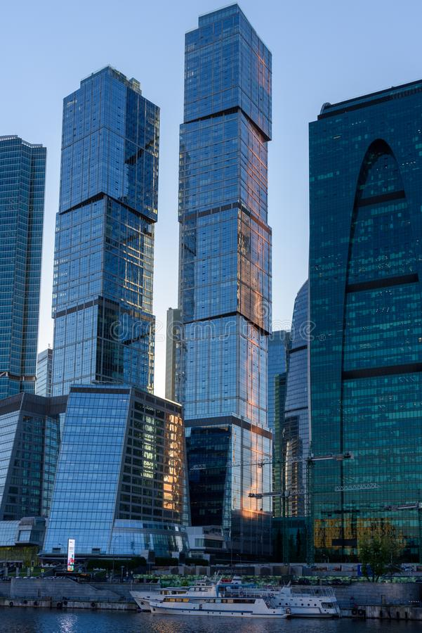 Modern skyscrapers business center. Offices and penthouses on the river bank. Modern skyscrapers on the banks of the Moskva River in the center of Moscow, Russia royalty free stock image