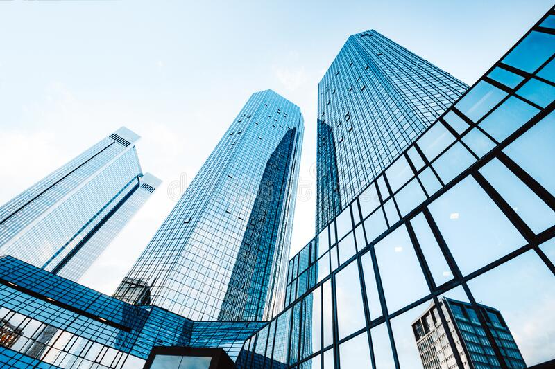 Modern skyscrapers in business district royalty free stock photos