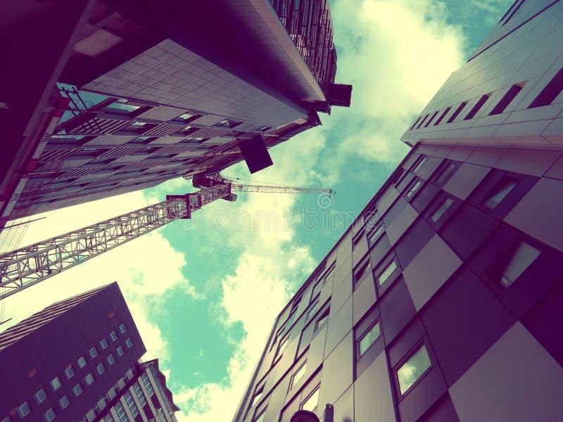 Modern skyscrapers with crane stock photo