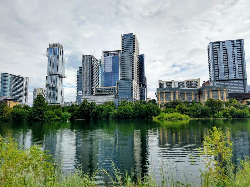 Modern skyscrapers in downtown Austin TX. Texas, buildings, lake stock images