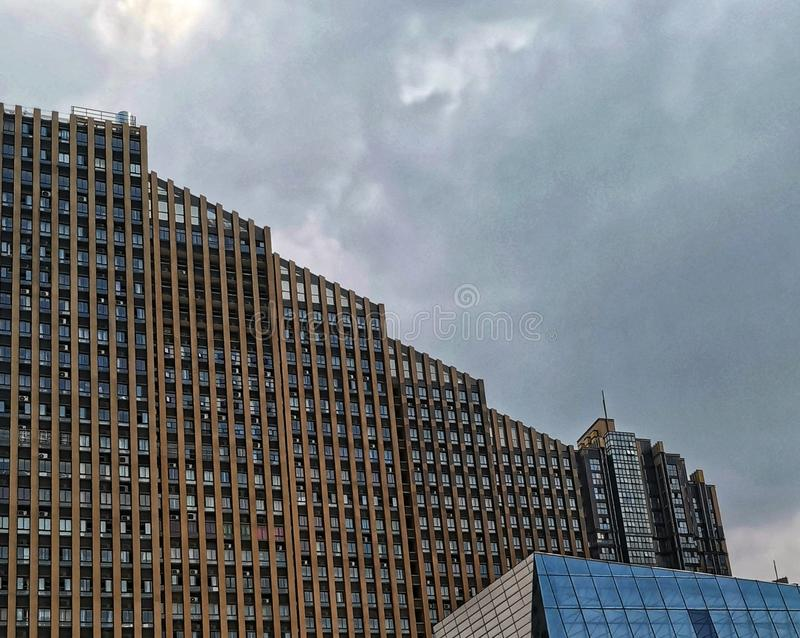 Modern skyscrapers with overcast sky. In wuhan city, china stock image