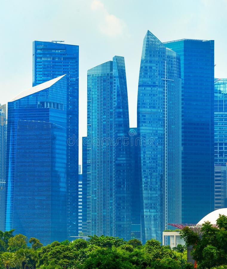 Modern skyscrapers in Singapore Downtown Core. At daytime stock photos