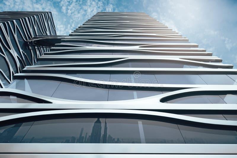 Modern skyskrapa på himmelbakgrundscloseupen vektor illustrationer