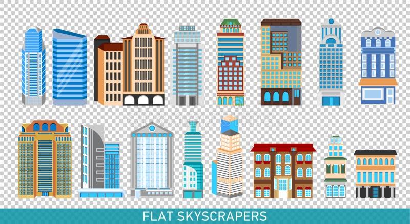 Modern skyskrapauppsättning i plan stil Stadsdesignbeståndsdelar vektor illustrationer
