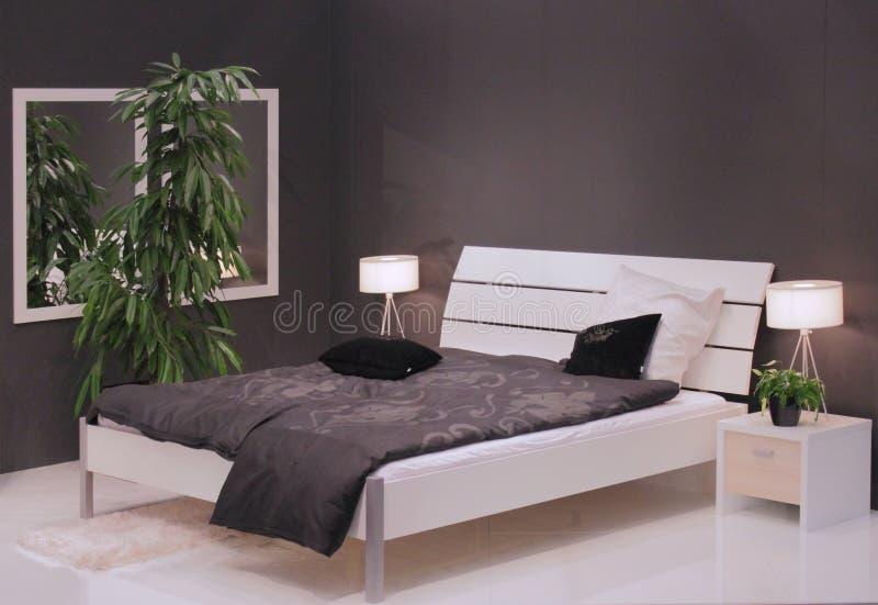 Modern slaapkamer binnenlands ontwerp. royalty-vrije stock fotografie