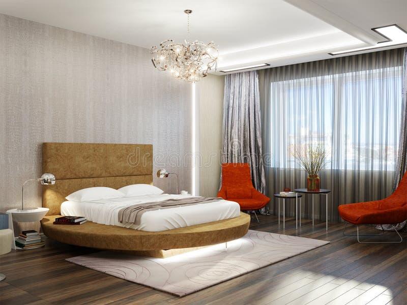 Modern Slaapkamer Binnenlands Ontwerp Met Rond Bed Stock Illustratie ...