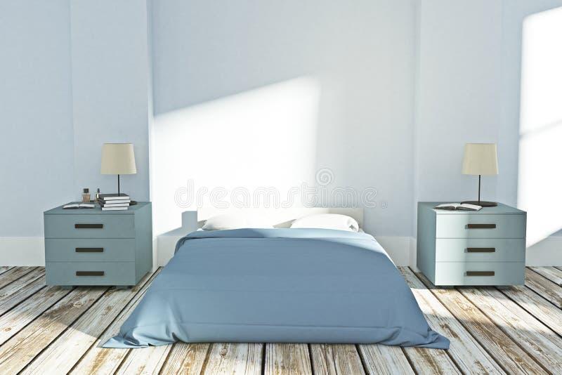 Modern slaapkamerbinnenland royalty-vrije illustratie