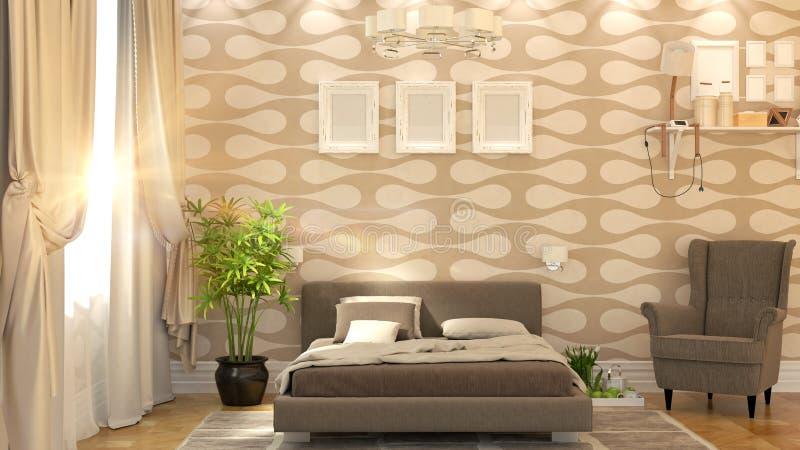 Modern slaapkamerbinnenland stock illustratie