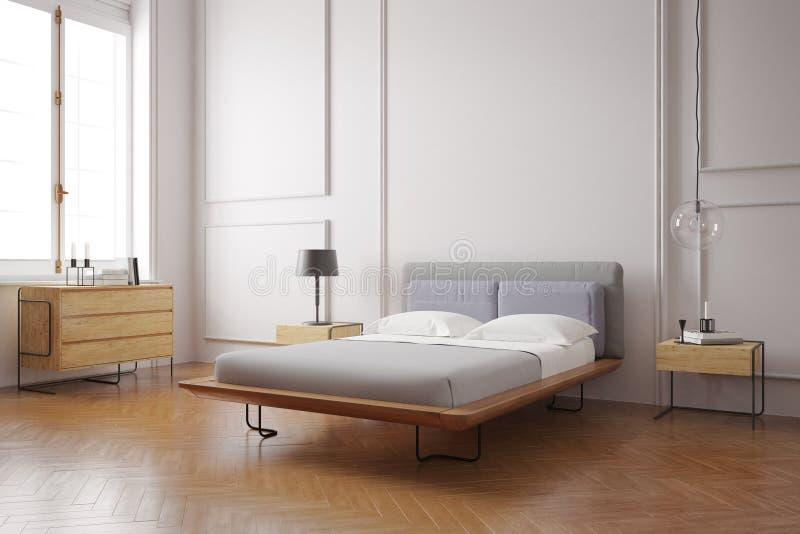 Modern slaapkamerbinnenland stock foto's