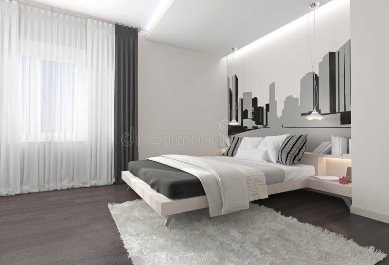 Modern slaapkamerbinnenland met donkere gordijnen stock fotografie