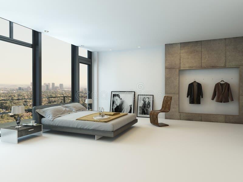 Modern slaapkamerbinnenland met reusachtige vensters royalty-vrije stock foto