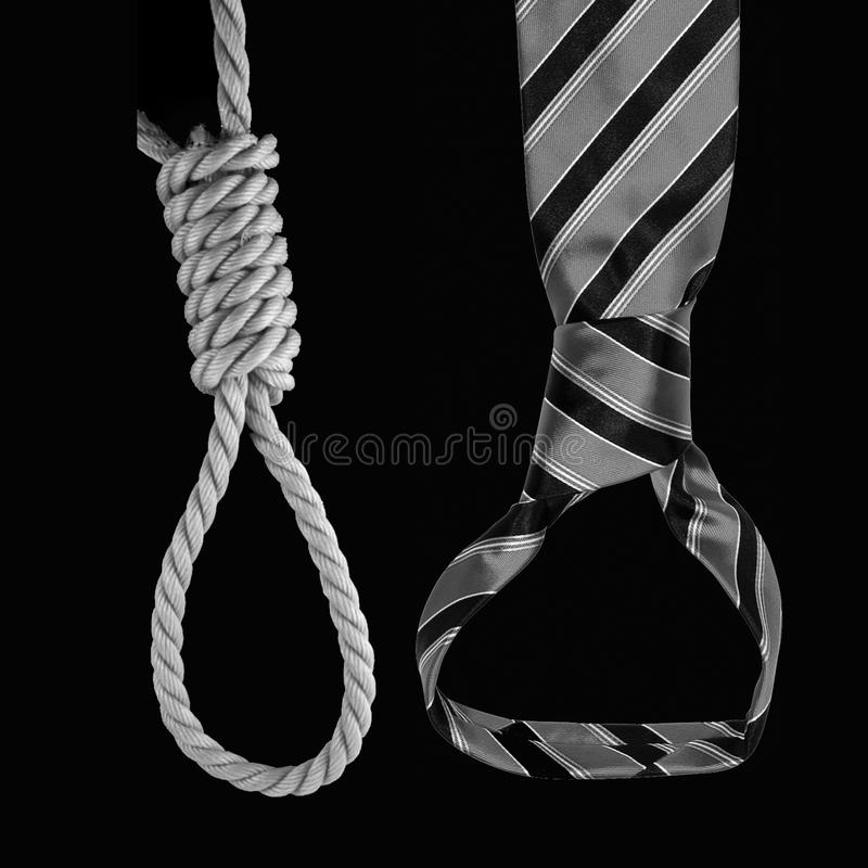 Modern slavery. Comparative view ties and gallows, which indicates the cruelty of modern slavery royalty free stock photos