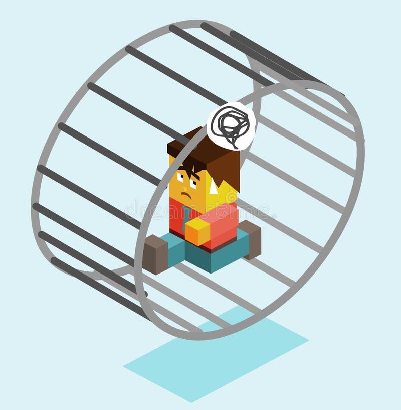 Modern slavery. On wheel. illustration stock illustration