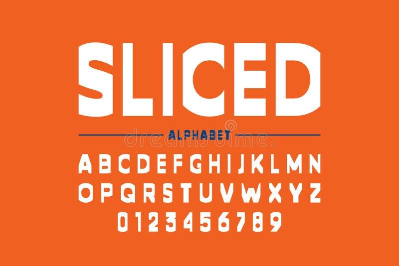 Modern sliced font design. Alphabet letters and numbers stock illustration