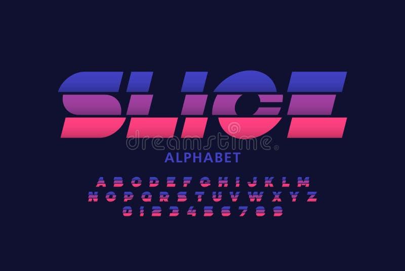 Sliced font. Modern sliced font design, alphabet letters and numbers stock illustration
