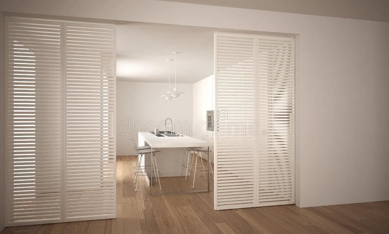 Modern sliding door with kitchen in the background, white minimal architecture interior royalty free illustration