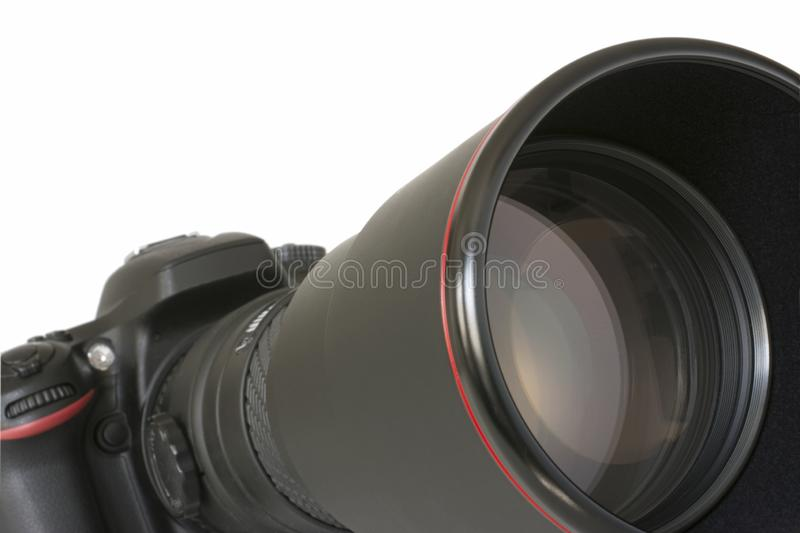 SLR camera with telephoto lens royalty free stock photos