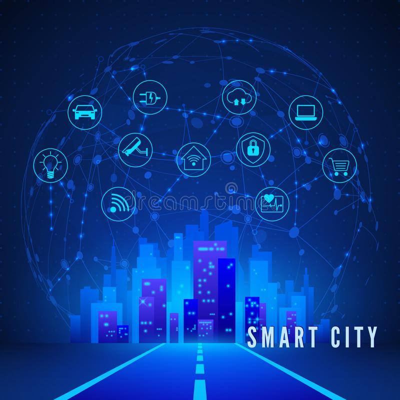 Modern Smart City Concept in Blue Colors. Smart City Landscape and System Monitoring and Control Icon Set. Technology Background. vector illustration