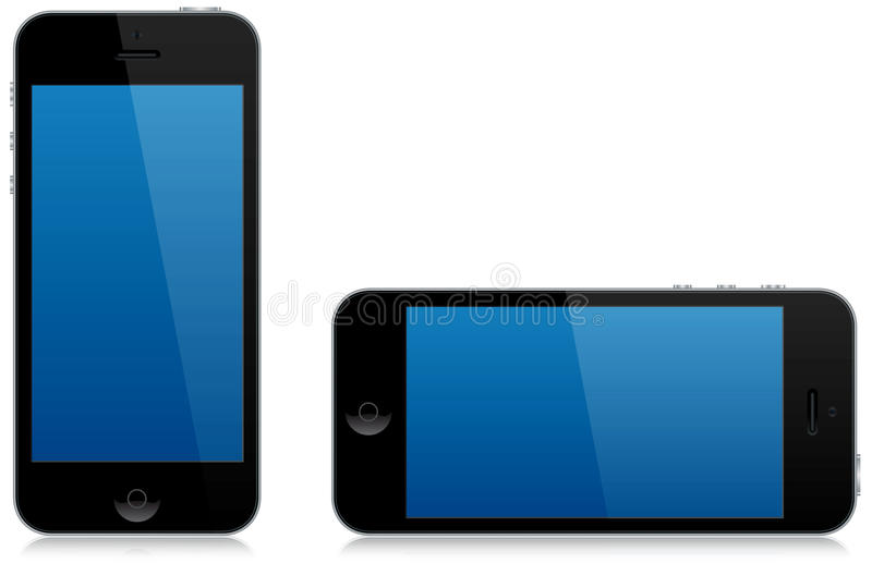 Modern smart phone landscape and portrait isolated vector illustration