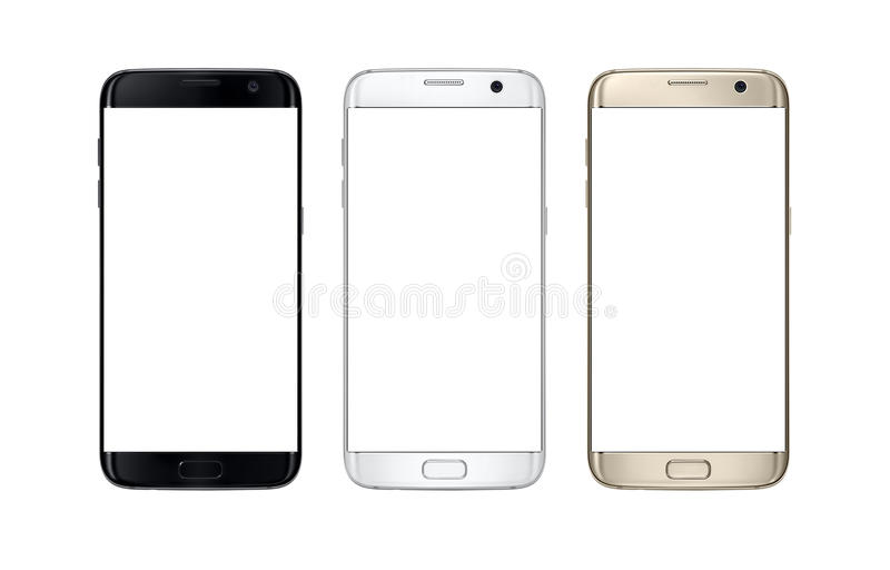 Modern smart phone in three color. Isolated white screen for mockup. royalty free stock photo