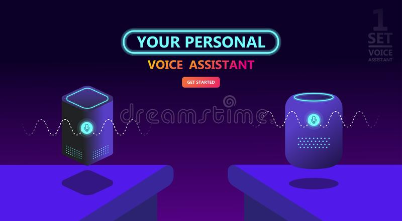 Modern smart speaker, voice command device. With integrated virtual assistant. Flat vector neon website template and landing page design. Use for, landing page royalty free illustration