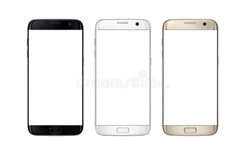 Modern smart telefon i färg tre Isolerad vit skärm för modell royaltyfri foto