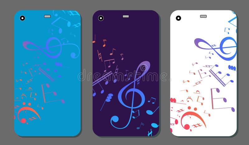 Modern smart telefon på musikalisk bakgrund Telefonräkningsmallen ställde in med musiktangent och anmärkningar royaltyfri illustrationer