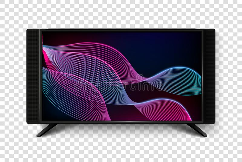 Modern smart TV set 3d vector illustration. Isolated realistic icons on transparent background. LCD Plasma screen with stock illustration