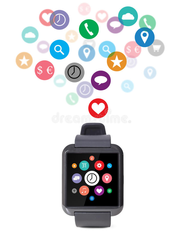 Modern smart watch. With cloud of apps isolated on white background stock photo