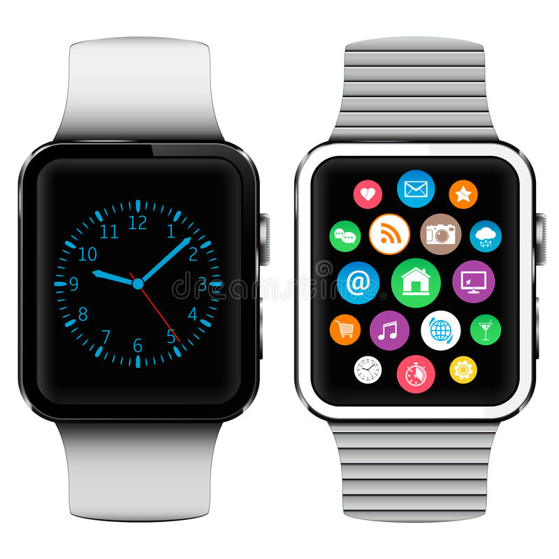 Modern smart watches with applications icons on screen. On white background stock illustration