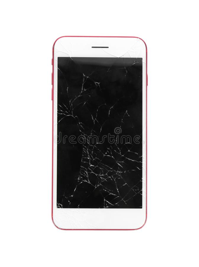 Modern smartphone with broken display. Device repair service. Modern smartphone with broken display isolated on white. Device repair service stock photos