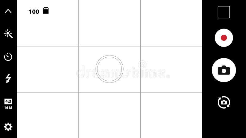 Modern smartphone camera focusing screen. Smartphone camera viewfinder. Template focusing screen of the camera. Viewfinder camera recording. Video screen on a stock illustration