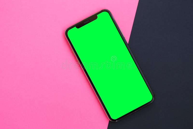 Modern smartphone device with empty screen for app logo stock photos