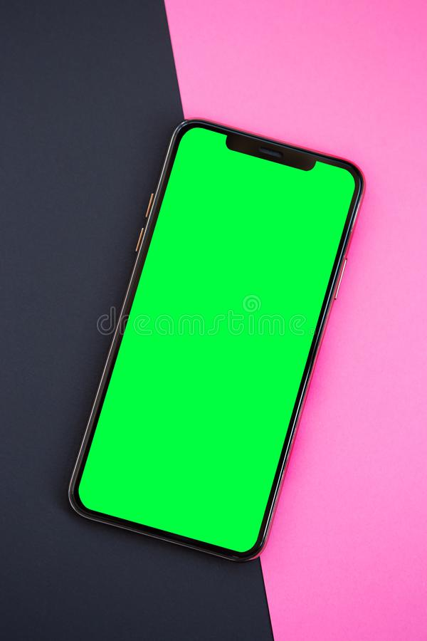 Modern smartphone device with empty screen for app logo royalty free stock images
